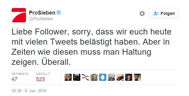 Twitter Pro7 zeigt Haltung