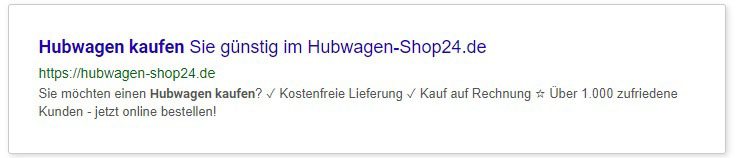 SEO Meta-Description optimiertes Beispiel